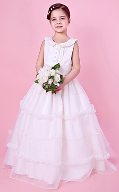 A-line Jewel Neck Floor-length Organza And Satin Flower Girl Dress With Buttons