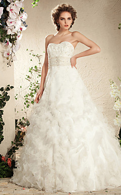 A-line Sweetheart Floor-length Satin Organza Wedding Dress