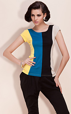 TS Color Block Elastic Shirt