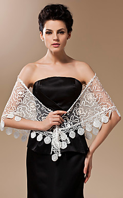 Sheer Lace Evening/Wedding Shawl With Lace Trim (More Colors)