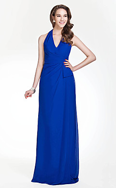 Halter Sheath/Column Floor-length Chiffon Bridesmaid Dress