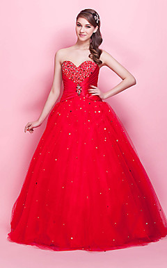 Ball Gown Strapless Sweetheart Floor-length Satin Tulle Evening Dress