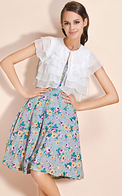 TS Layered Flounced Chiffon Cape Top