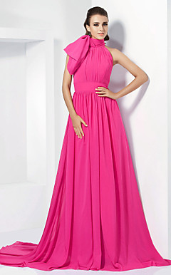 A-line High Neck Chiffon Evening Dress With Court Train inspired by Emma Stone at the 84th Oscar