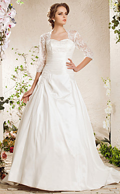 Ball Gown Sweetheart Court Train Satin Lace Weeding Dress