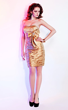 Sheath/Column Sweetheart Short/Mini  Stretch Satin Cocktail Dresses