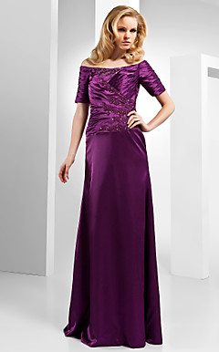 Sheath/Column Off-the-shoulder Floor-length Satin Evening Dress