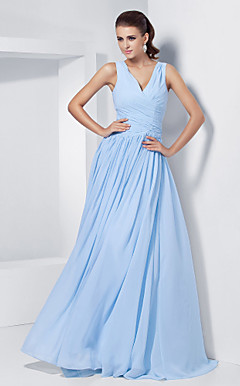 A-line V-neck Floor-length Chiffon Evening Dress With  Criss Cross Bodice