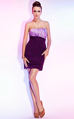 Sheath/Column Strapless Short/Mini Jersey And Satin Cocktail Dress