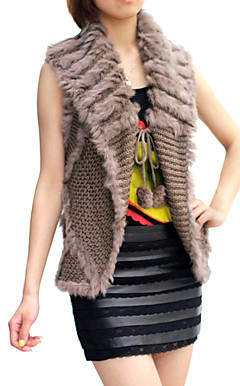 Sleeveless Turndown Collar Evening/ Office Rabbit Fur Vest  (More Colors)