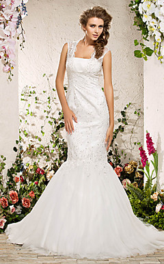 Trumpet/ Mermaid Square Court Train Organza Lace Wedding Dress