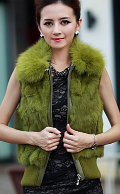 Fox Fur Collar Sleeveless Party/Evening Rabbit Fur Vest (More Colors)