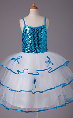 Ball Gown spaghetti straps knee-lunghezza organza con paillettes e raso vestito dalla ragazza di fiore