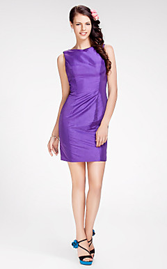 Sheath/Column Bateau Short/Mini Taffeta Bridesmaid Dress