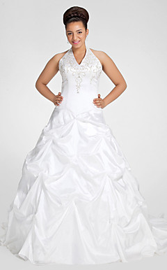 Ball Gown Halter Chapel Train Taffeta Plus Size Wedding Dress