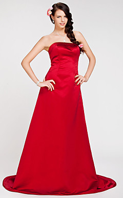 A-line Strapless Sweep/Brush Train Satin Bridesmaid Dress
