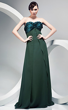 A-line Sweetheart Satin Over Chiffon Floor-length Evening Dress