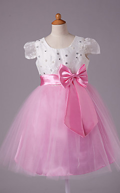 A-line Scoop Knee-length Satin Short Sleeve Flower Girl Dress