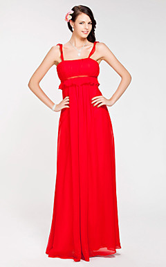 Sheath/ Column Straps Floor-length Chiffon Bridesmaid Dress