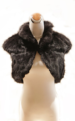 Elegant Short Sleeves High Neck Black Faux Fur Special Occasion Jacket / Wrap