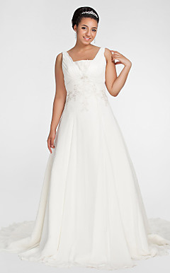 A-line Square Chapel Train Chiffon Plus Size Wedding Dress