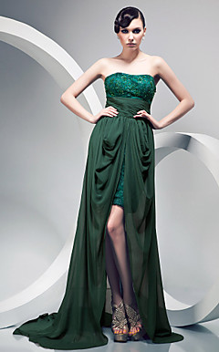 Sheath/ Column Strapless Lace Over Chiffon Sweep/ Brush Train Evening Dress