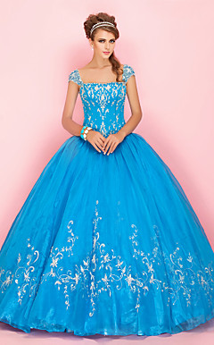 Ball Gown Bateau Short Sleeve Floor-length Organza Prom Dress With Embroidery
