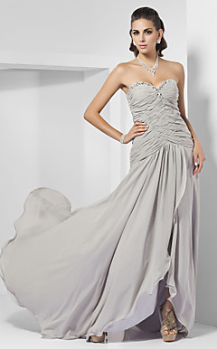 Sheath/ Column Sweetheart Sweep/ Brush Train Chiffon Evening Dress