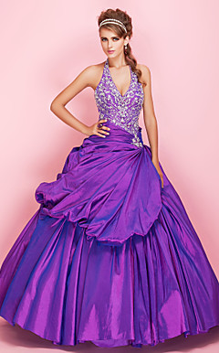 Ball Gown Halter Floor-length Beaded Taffeta Prom Dress With Pick-up Skirt