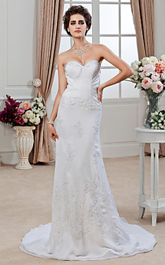 Sheath/ Column Sweetheart Court Train Chiffon Satin Wedding Dress