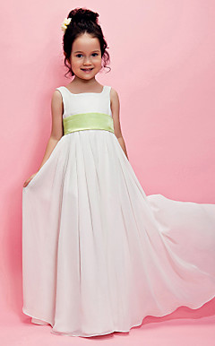 A-line Square Floor-length Chiffon Flower Girl Dress