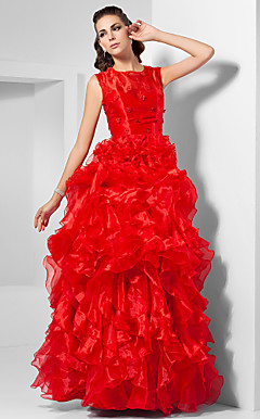 Ball Gown Jewel Floor-length Organza Evening Dress inspired by Claire Danes at Oscar