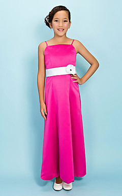 A-line Spaghetti Straps Ankle-length Satin Junior Bridesmaid Dress