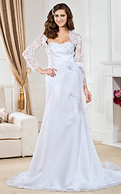 A-line Sweetheart Court Train Organza Wedding Dress With A Wrap