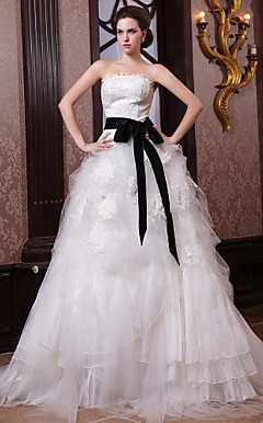 Ball Gown Strapless Chapel Train Organza Satin Wedding Dress