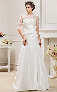 A-line Jewel  Floor-length Satin  Wedding Dress