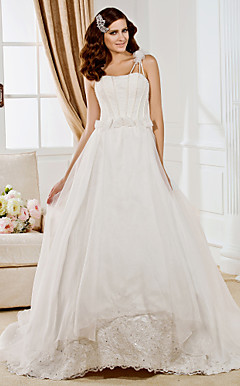 Ball Gown One Shoulder Chapel Train Organza  Wedding Dress