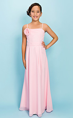 Sheath/Column Spaghetti Straps Floor-length Chiffon Junior Bridesmaid Dress