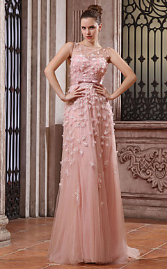A-line Bateau Sweep Brush Train Tulle Over Chiffon Luxurious Dresses