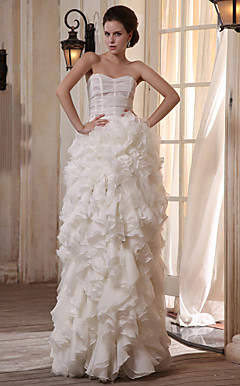 A-line Sweetheart Floor-length Tulle Satin Wedding Dress