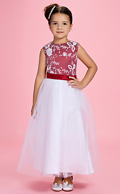 A-line Jewel Ankle-length Satin Flower Girl Dress