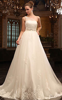 A-line One Shoulder Court Train Tulle Satin Wedding Dress