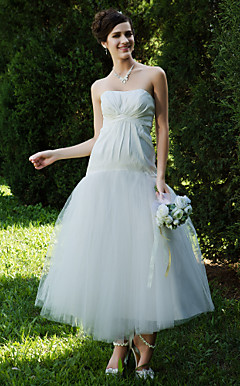 A-line Strapless Ankle-length Tulle Taffeta Wedding Dress