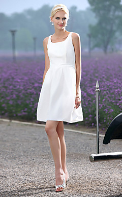 A-line Scoop Short/ Mini Taffeta Wedding Dress