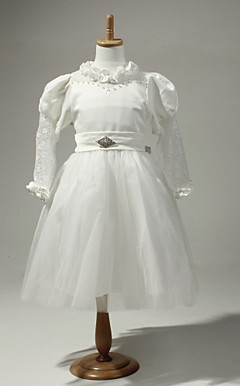 Excellent Satin And Tulle Long Sleeves Flower Girl Dress