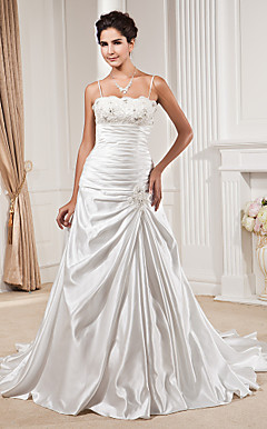 A-line Spaghetti Straps Scalloped-Edge Chapel Train Satin Wedding Dress