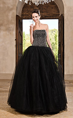 Ball Gown Strapless Floor-length Tulle Satin Evening Dress