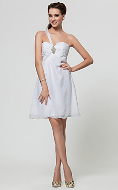 A-line Sweetheart One Shoulder Short/Mini Satin And Chiffon Bridesmaid Dress