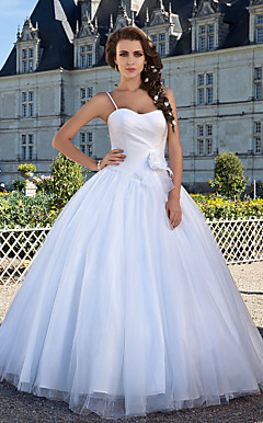 Ball Gown Sweetheart Floor-length Tulle Criss Cross Wedding Dress