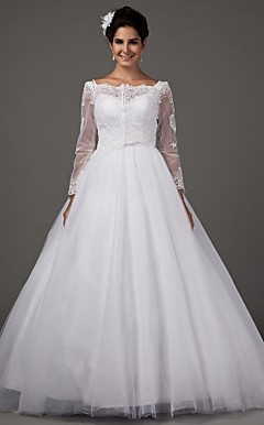 A-line Sweetheart Spaghetti Straps Chapel Train Tulle Wedding Dress With A Wrap